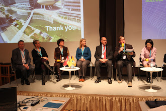 "Photo: Final panel discussion - ""Communicating Science & Innovations""- 2012: M. Cleassens, M. Satherstrom, N. Buitelaar, A. Gravier, H. Kunz, J. Gillies, H. Yokoyama"