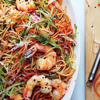 Sesame Rice Noodles with Shrimp.