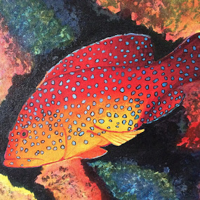 Underwater colors by Amber O'Hara - Painting All Painting ( orange, fish, tropical, trout, acrylic )