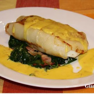 Potatoes Crusted Sea Bass with Saffron Sauce.