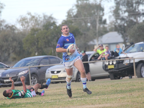 Narrabri Blues second rower Daniel Howe runs over for one of his four tries in Wee Waa on Sunday afternoon.