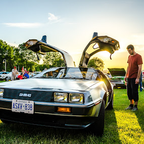 Back to the Future... by Frank Kruller - Transportation Automobiles ( muscle cars, sunset, car show, delorean )
