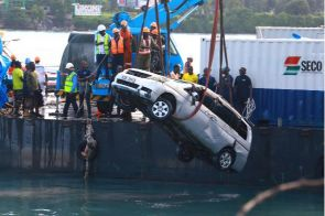 The car that plunged into the ocean from MV Harambee at the Likoni crossing channel on September 29, 2019 killing Mariam Kighenda, 35, and her daughter Amanda Mutheu, 4.
