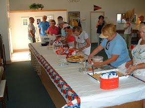 Photo: Setting up the brunch buffet.