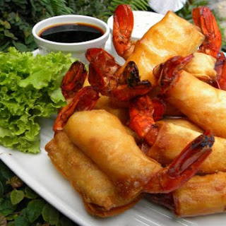 Shrimp Wrapped with Spring Roll Wrappers