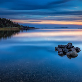 Rocks by Bent Velling - Landscapes Waterscapes ( clouds, water, canon, nd64, 6d, norway, fredrikstad, lee, benro, blue, 0.9, rocks, hoya, World_is_Blue )