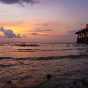 beautiful sunset at Kuala Perlis by Shahrin Ayob - Landscapes Sunsets & Sunrises ( al hussain, dawn, minaret, sunset, mosque, dome, perlis, dusk )