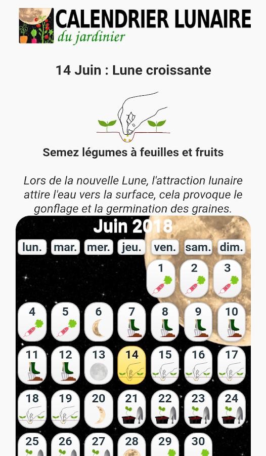 Calendrier lunaire du jardin applications android sur - Calendrier lunaire jardin a imprimer ...