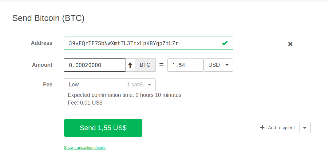 Screenshot on showcasing on how to send crypto on the Trezor Model T