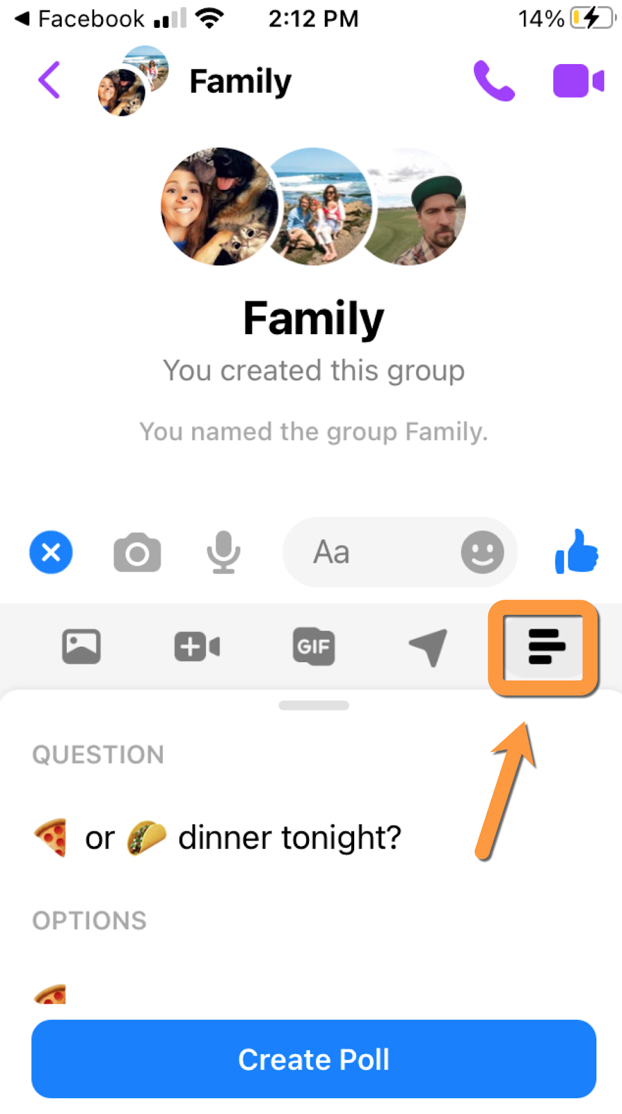 facebook group chat poll example step 2