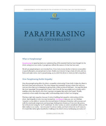 An example of paraphrasing in counselling