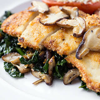 Sauteed Chicken Breast with Kale and Wild Mushrooms.