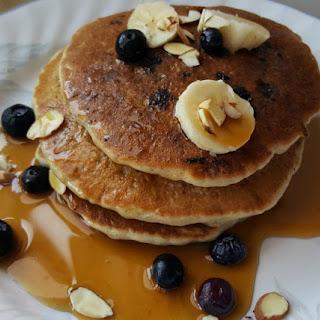 Banana Blueberry Almond Pancakes.