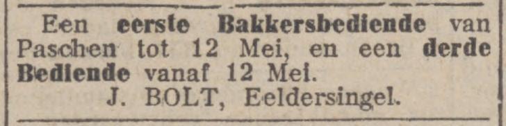 personeelsadvertentie Bolt (1913)