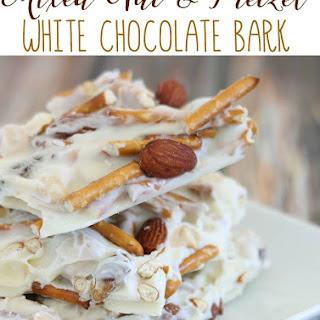 Mixed Nut & Pretzel White Chocolate Bark.