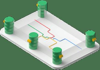 Quatro bancos de dados conectados na mesma rede