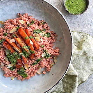 Beet Couscous with Balsamic Glazed Carrots & Carrot Top Dressing