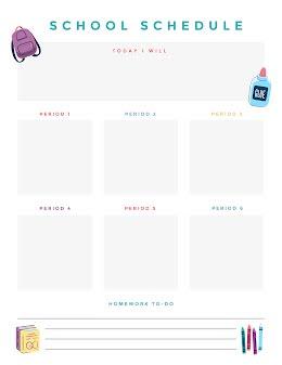 School Day Schedule  - Daily Planner item