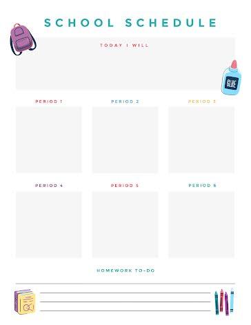 School Day Schedule  - Planner Template