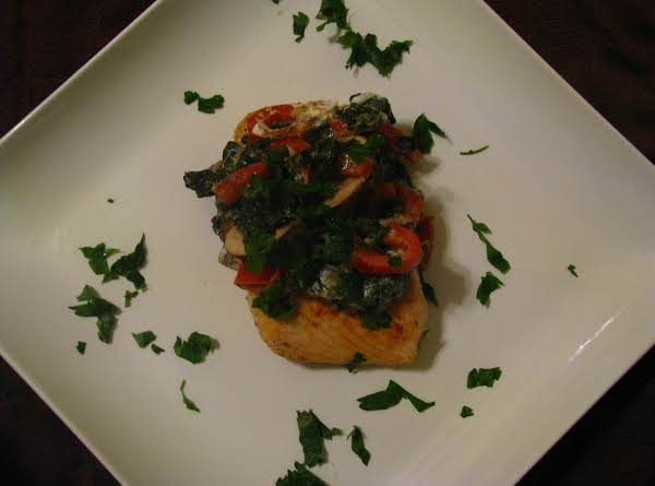 Salmon And Vegetable Cheese Sauce Topped With Parsley