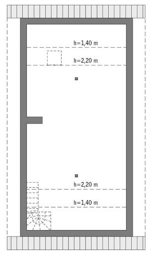 Elastyczny - wariant I - C346a - Rzut poddasza do indywidualnej adaptacji (55,5 m2 powierzchni użytkowej)