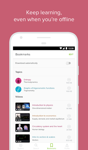 Screenshot 2 for Khan Academy's Android app'
