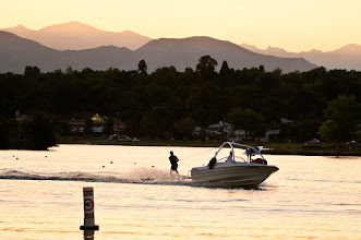 Photo: Water skiing at dusk on Sloan's Lake, Denver.