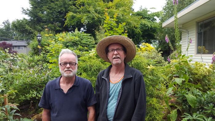 Photo: From left, Anton and Herb Widuschek in their front yard. Widuschek Garden.