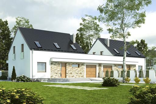 projekt Sosnówka z garażem 1-st. bliźniak A-BL1