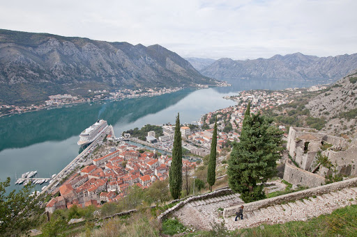 Kotor-overlook-3.jpg - From this vantage point more than halfway up the Ladder of Kotor, you can see the Old Town, Kotor Bay, the steep winding trail and Viking Star.