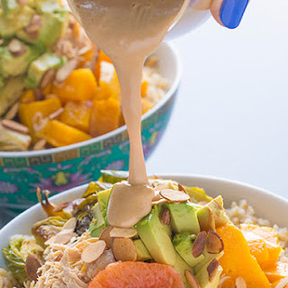 Grain Bowls with Chicken, Veggies and a Creamy Tahini Dressing