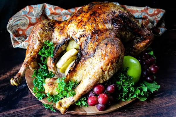 Easy Turkey With Apples And Glaze Ready To Be Sliced.