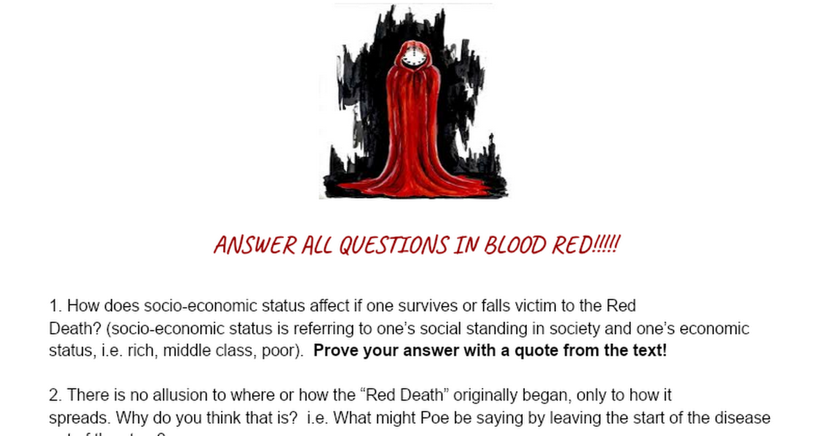 the masque of the red death questions and answers