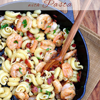Bacon and Shrimp Scampi with Pasta.