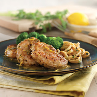 Sauteed Pork Tenderloin Medallions with Lemon-Garlic Sauce.