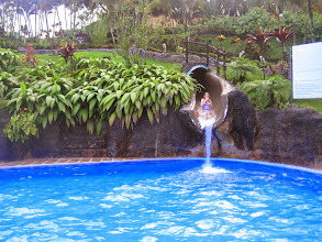 """Photo: Genevieve does the long """"volcano"""" waterslide. Later Monica gave it a try too! Fun!!"""