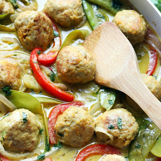 Green Curry Sweet Potato Chicken Meatballs Recipe