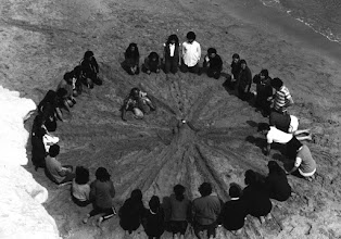 Photo: Workshop Tribuana on the beach, Lecce , south of Italia,1981, making Balinese Kechak, Totem improvisation.