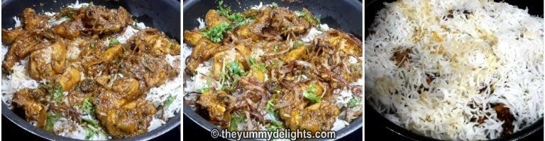 sprinkle fried onions, coriander and mint leaves to make hyderabadi biryani recipe