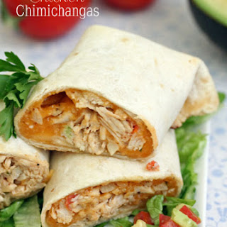 Baked Cheddar Chicken Chimichangas.