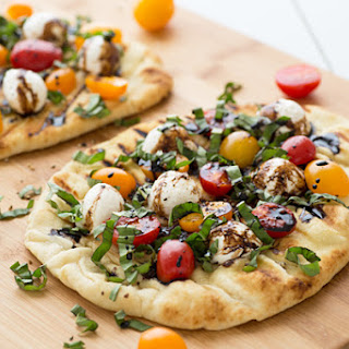 Grilled Caprese Naan Pizza.