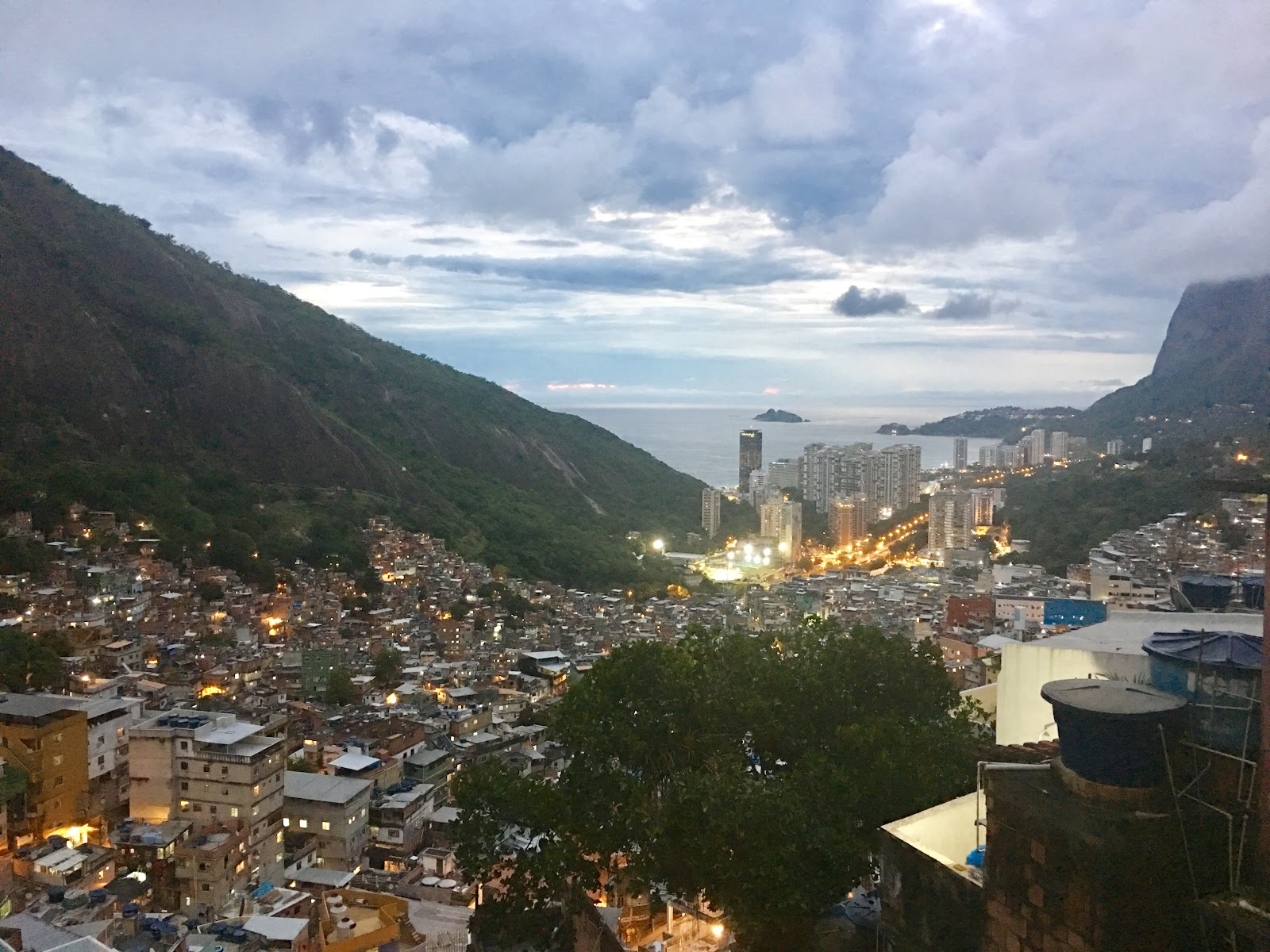 Ocean and favela view from the top of a terrace in Rocinha
