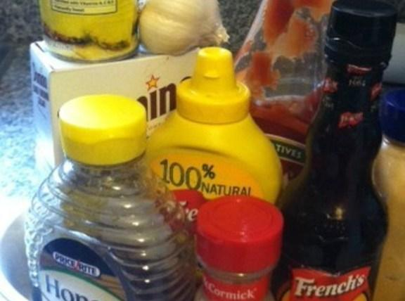 mix all of the BBQ sauce ingredients together in a saucepan. Cook on medium...
