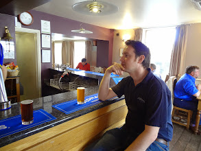 Photo: Adnams brewer Fergus Fitzgerald shared a few half pints of delicious Adnams ales with Owen Ogletree at the conclusion of our tour.