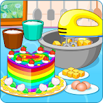 Cooking colorful cake