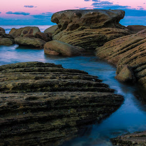 Rocks by Daniel Wheeler - Landscapes Waterscapes ( colour, rocks, sunset, lines, water )