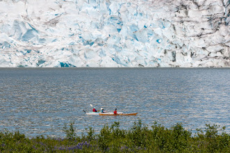 Photo: Kayakers enjoy paddling around Mendenhall Lake