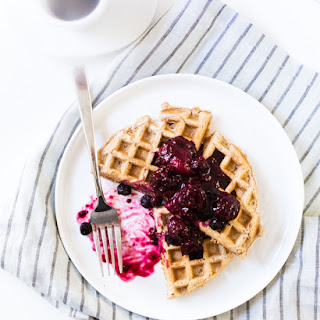 Chai Almond Milk Dairy-Free Waffles with Berry Compote.