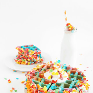 Tie Dye Fruity Pebbles Crusted Waffles.