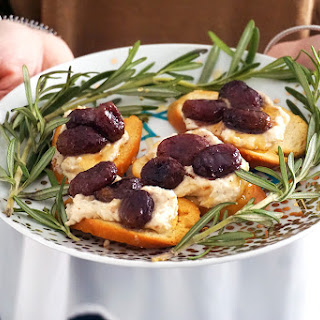 Roasted Grape Crostini with Chili Ricotta and Honey Recipe